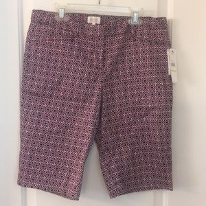 Navy blue, plum and white patterned laundry shorts